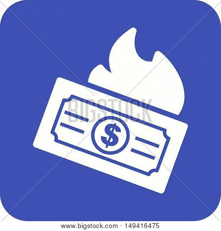 Money, dollar, fire icon vector image. Can also be used for currency. Suitable for web apps, mobile apps and print media.