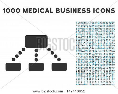 Hierarchy icon with 1000 medical commerce gray and blue vector pictograms. Design style is flat bicolor symbols, white background.