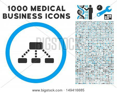 Hierarchy icon with 1000 medical commerce gray and blue vector pictograms. Collection style is flat bicolor symbols, white background.