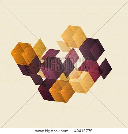 3d retro cube multicolor abstract background - vector illustration. Background design