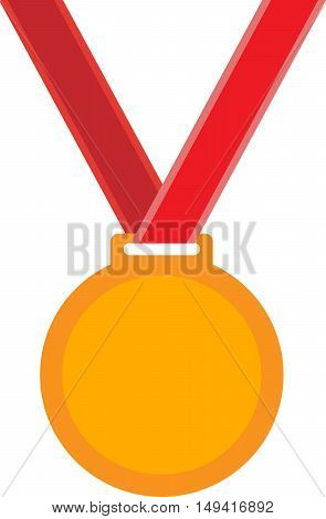 Abstract gold medal on a red ribbon