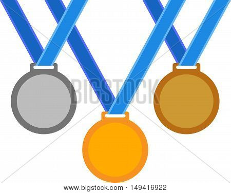 Abstract sports medals on a blue ribbons