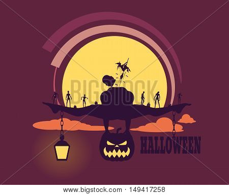 Zombie silhouettes on sunset. Halloween theme background. Bodybuilder posing on pumpkin. Witch fly out from body