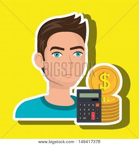 man money coins calculator vector illustration eps 10