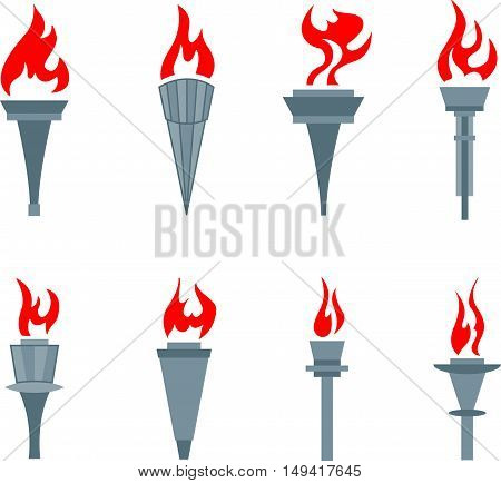 Abstract graphic set of flat sports torches