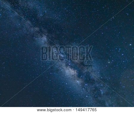 Milky way galaxy with stars and space dust in the universe Long exposure photographwith grain