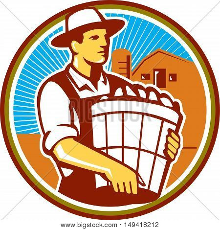 Illustration of an organic farmer wearing hat carrying basket of harvest crops looking to the side set inside circle with barn and sunburst in the background done in retro style.