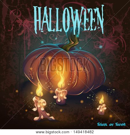 Halloween vector illustration with candles pumkin flame