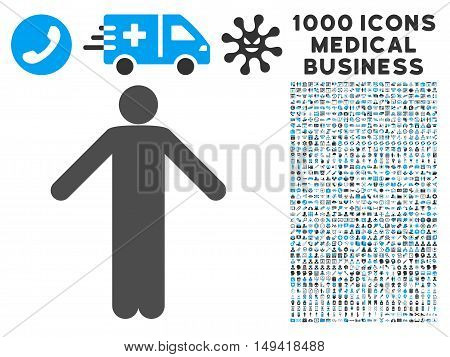 Ignorance Pose icon with 1000 medical commercial gray and blue vector pictographs. Clipart style is flat bicolor symbols, white background.
