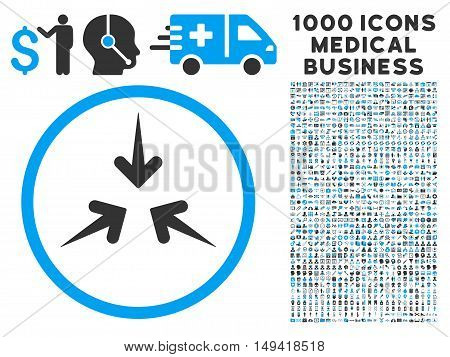 Impact Arrows icon with 1000 medical commercial gray and blue vector pictographs. Design style is flat bicolor symbols, white background.