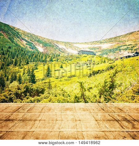 Fairy Tale Forest In Retro Style. Paper Vintage Textured. Mountain Landscape, Wooden Floor With Natu