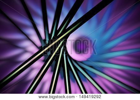 Abstract fantasy figures on blurred background. Computer-generated fractal in faded green violet pink and black colors.