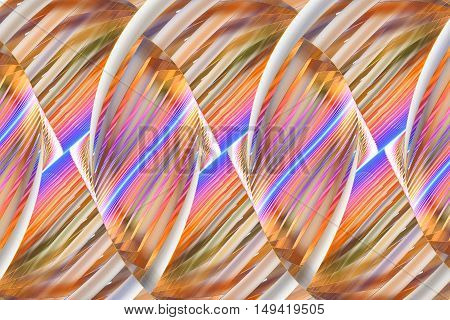 Multicolored stripes. Abstract fantasy ornament on white background. Computer-generated fractal in orange yellow pink blue and brown colors