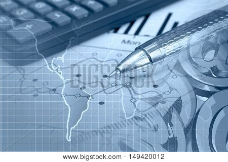 Financial background in blues with map calculator graph and pen.