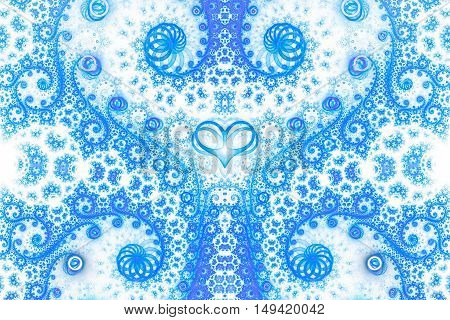 Abstract intricate spiral ornament on white background. Symmetrical pattern. Fantasy fractal design in bright blue colors. Print for postcards or clothes.