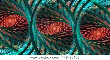 Misty forest. Abstract fantasy mosaic ornament. Fractal illustration in emerald green turquoise red and black colors.