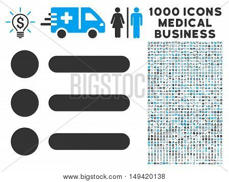Items icon with 1000 medical commerce gray and blue vector pictograms. Set style is flat bicolor symbols white background.