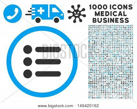 Items icon with 1000 medical commercial gray and blue vector pictographs. Clipart style is flat bicolor symbols white background.