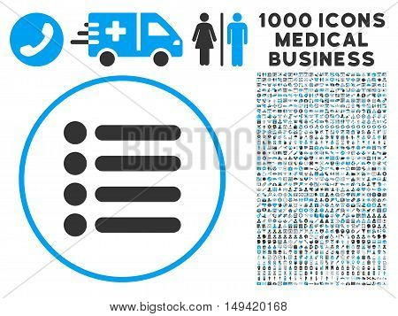 Items icon with 1000 medical commerce gray and blue vector pictograms. Collection style is flat bicolor symbols white background.