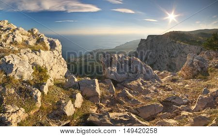Panorama sunset in mountain. Nature composition.