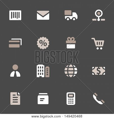 Shopping mobile icons, e-commerce infographics symbols.