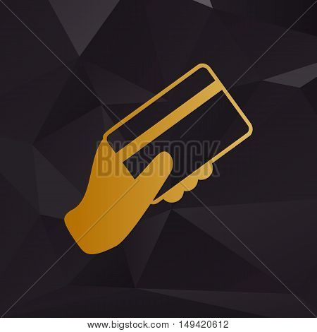 Hand Holding A Credit Card. Golden Style On Background With Polygons.
