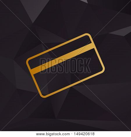 Credit Card Symbol For Download. Golden Style On Background With Polygons.