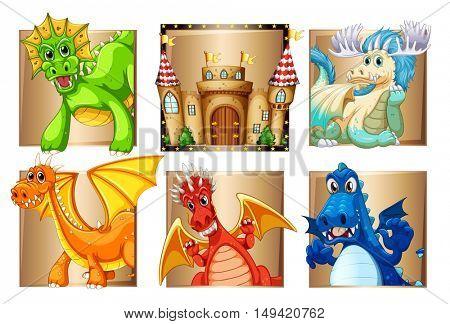 Palace and many dragons illustration