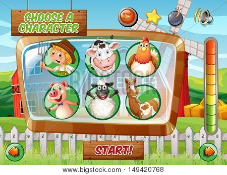 Game template with farm theme illustration