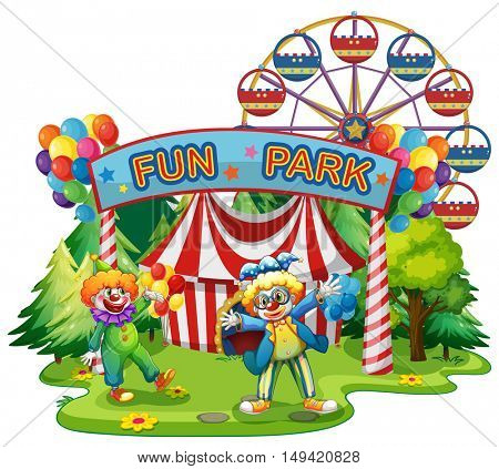 Two clowns in the fun park illustration
