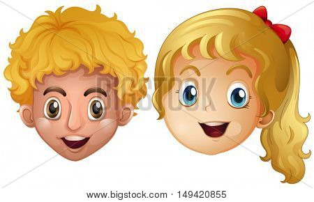 Head of boy and girl illustration