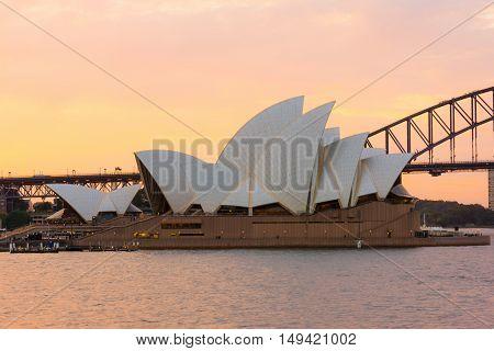 Sydney Opera House  at sunset. Sep,29,2016.The Sydney Opera House,Sydney,Australia is famous art center.