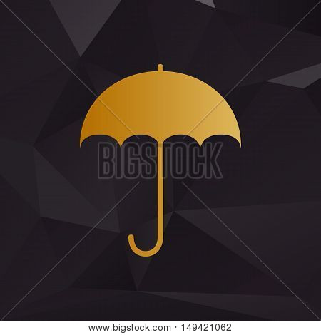 Umbrella Sign Icon. Rain Protection Symbol. Flat Design Style. Golden Style On Background With Polyg