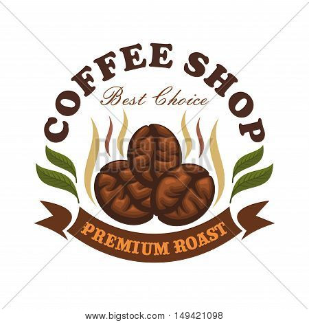 Coffee shop cafe emblem. Roasted coffee beans with leaves and brown ribbon. Vector template for cafeteria menu, cafe signboard