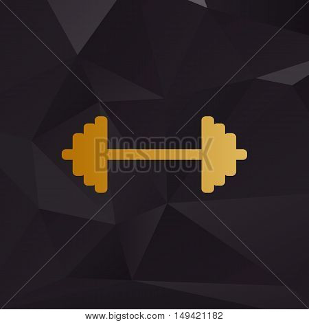 Dumbbell Weights Sign. Golden Style On Background With Polygons.