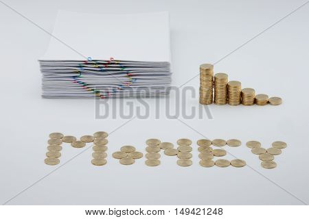 Pile Document With Colorful Heart-shaped Paperclip