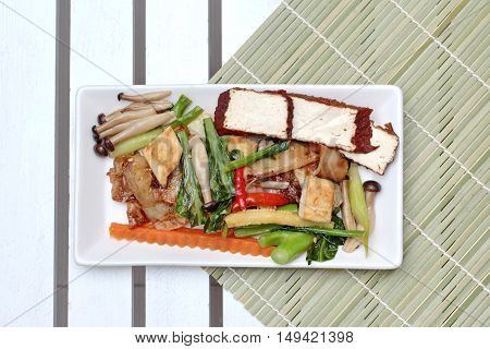 Fried mixed vegetables with tofu in Vegetable festival of Chinese as