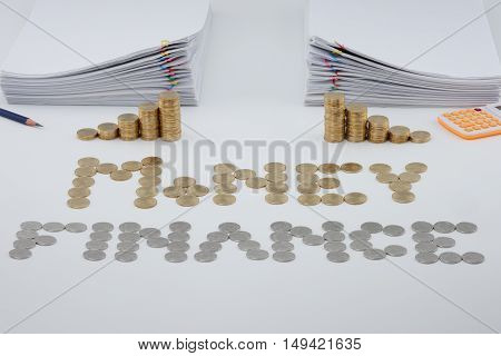 Split Step Pile Of Gold Coins And Pile Overload Paperwork
