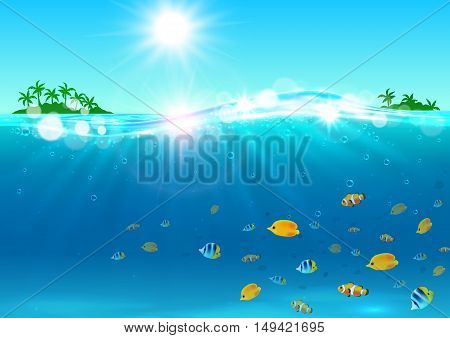 Summer vacation banner. Ocean with tropical palm island, shining sun, water waves, bright color fishes. Background for travel agency advertisement, greeting card, hotel, resort placard