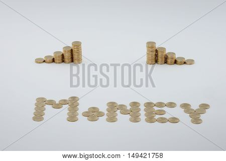 Step Pile Of Gold Coins With Sort Gold Coins As Money
