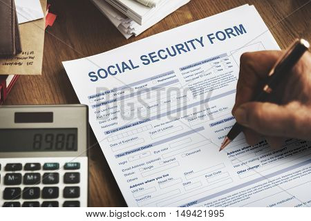 Social Security Form Application Concept