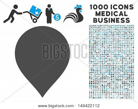 Map Marker icon with 1000 medical commerce gray and blue vector design elements. Design style is flat bicolor symbols, white background.