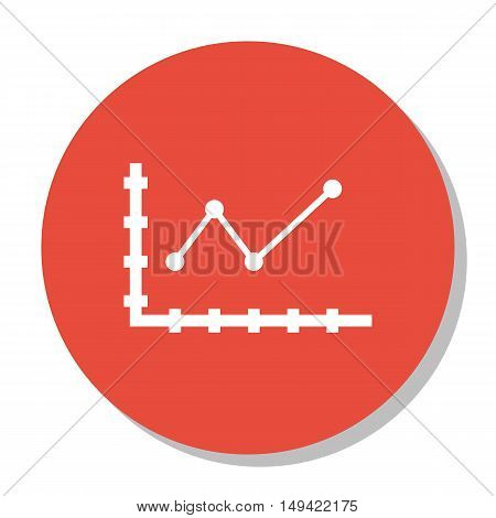Vector Illustration Of Statistics Icon On Pointed Line Chart In Trendy Flat Style. Statistics Isolat