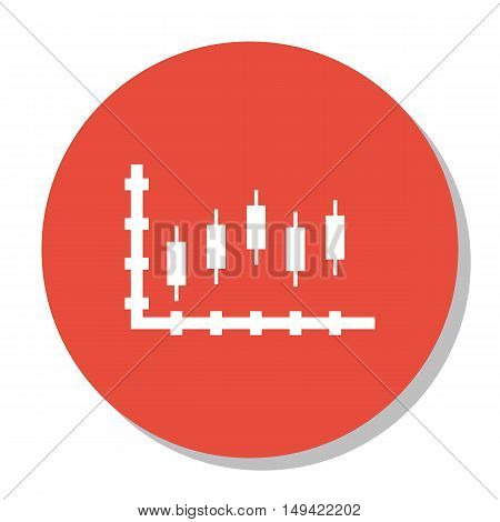 Vector Illustration Of Statistics Icon On Candles Chart In Trendy Flat Style. Statistics Isolated Ic