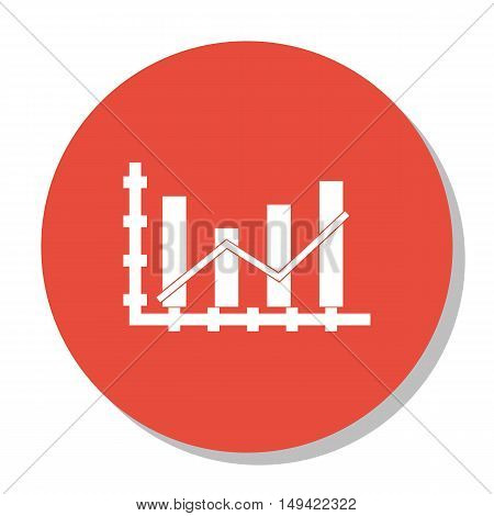 Vector Illustration Of Statistics Icon On Dynamics Graph In Trendy Flat Style. Statistics Isolated I