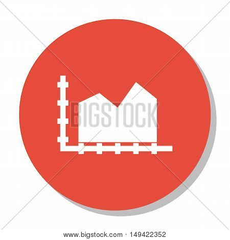 Vector Illustration Of Statistics Icon On Area Chart In Trendy Flat Style. Statistics Isolated Icon
