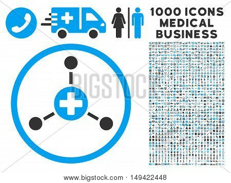 Medical Center icon with 1000 medical commerce gray and blue vector pictograms. Collection style is flat bicolor symbols, white background.