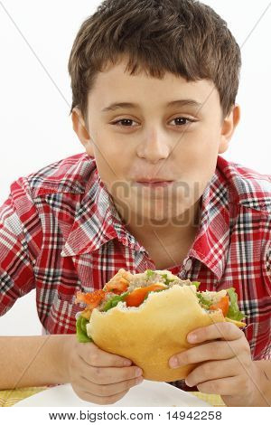 Boy Eating A Big Hamburger