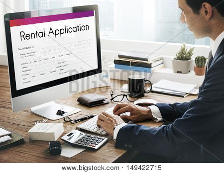 Rental Application Borrow Apply Rent Concept