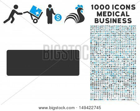 Minus icon with 1000 medical commercial gray and blue vector pictographs. Set style is flat bicolor symbols, white background.